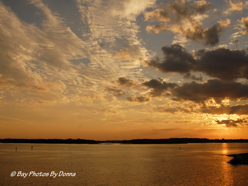 Sunset from my balcony overlooking Kent Narrows south entrance and Kent Island